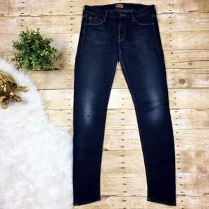 MOTHER Dark Wash Stretchy Distressed Skinny Jeans